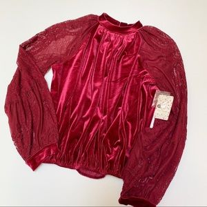 Free People Small Dream Team Velvet Lace Blouse